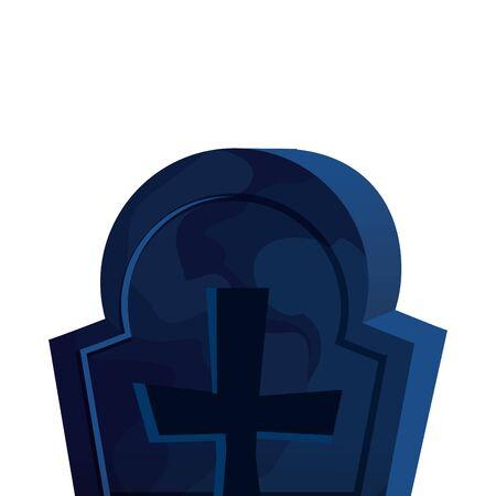 halloween tomb of cemetery icon vector illustration design Ilustração