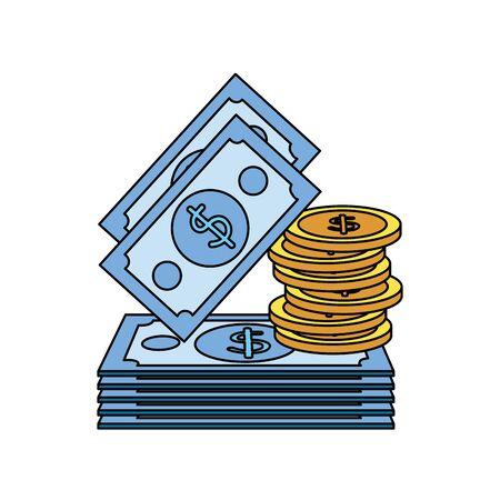 Monedas y billetes, dinero, dólares, diseño de ilustraciones vectoriales iconos Ilustración de vector