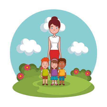 mother with kids family in the landscape vector illustration design