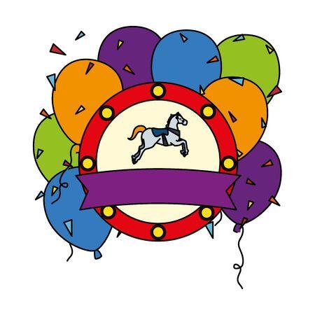 carousel horse carnival with balloons helium emblem vector illustration design Иллюстрация