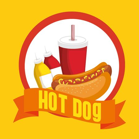 hot dog combo with soda vector illustration graphic design