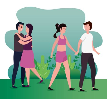 cute women and men in love together with bushes plants, vector illustration