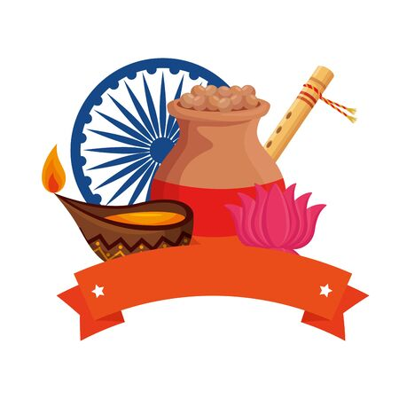 indian ceramic jar with food and ornamental icons vector illustration design