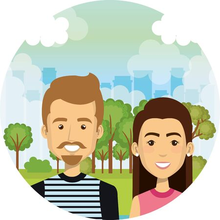 young lovers couple in the camp characters vector illustration design Standard-Bild - 134618403