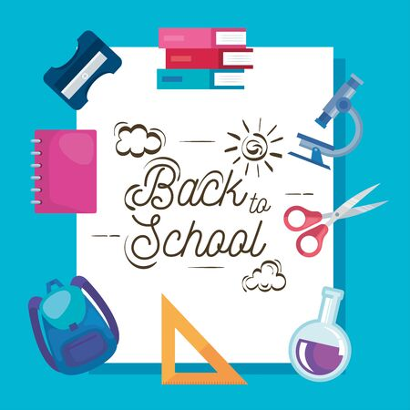 poster of notebook with backpack and boos with scissors to back to school vector illustration