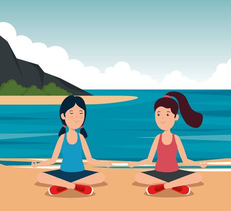 girls practice yoga exercise activity to summer sport vector illustration