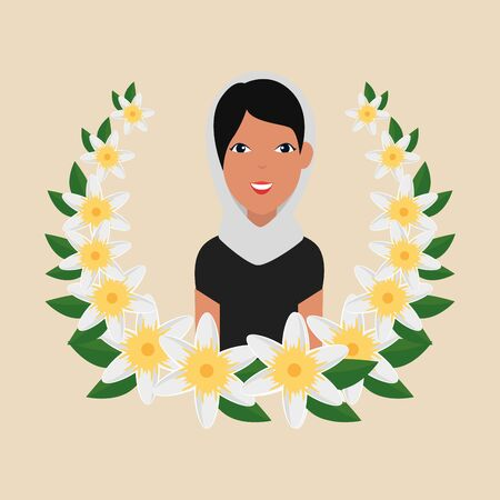 islamic woman with traditional burka and floral crown vector illustration design