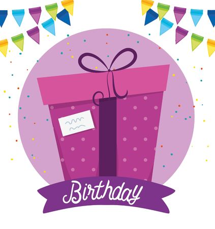 presents gift with party banner decoration to happy birthday, vector illustration