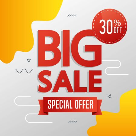 commercial label with big sale special offer lettering vector illustration design