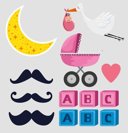 set of stork with hanging baby and mustaches with carriage over blue background vector illustration Ilustração