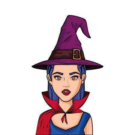 junge Frau, die als Vampir verkleidet ist, mit Huthexenart-Pop-Art-Vektorillustrationsdesign Vektorgrafik