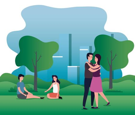 women and men couples in love with hairstyle and trees with mountains, vector illustration Çizim