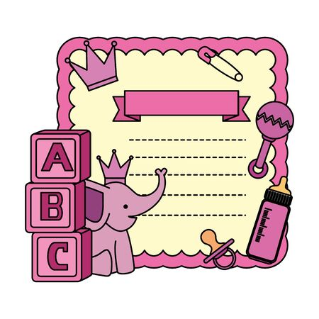 baby shower card with blocks and elephant vector illustration design Stock Illustratie