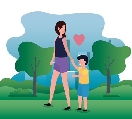 woman mother with her cute boy son and trees with mountains, vector illustration  イラスト・ベクター素材