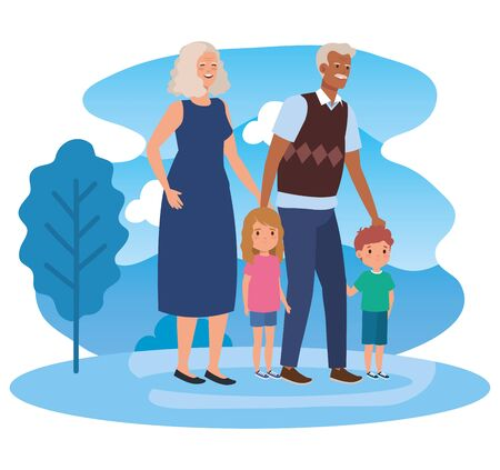cute grandparents with their boy and girl kid in the landscape, vector illustration Çizim