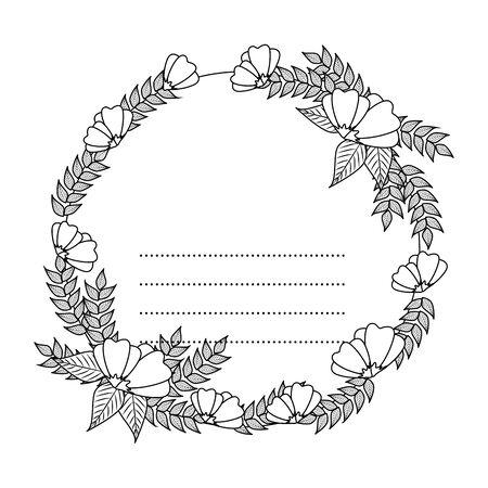 circular postcard with roses and leafs decoration vector illustration design