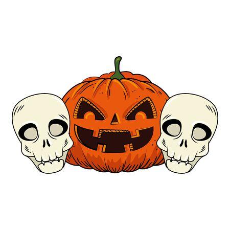Halloween-Kürbis mit Schädel-Pop-Art-Stil-Vektor-Illustration-Design Vektorgrafik