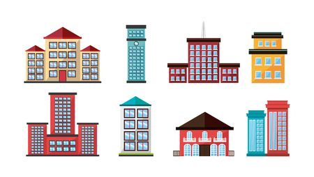 bundle structures facade isometric icons vector illustration design