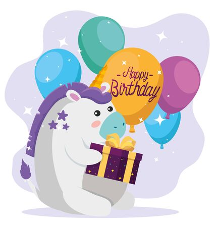 cute unicorn animal with present gift and balloons to happy birthday, vector illustration