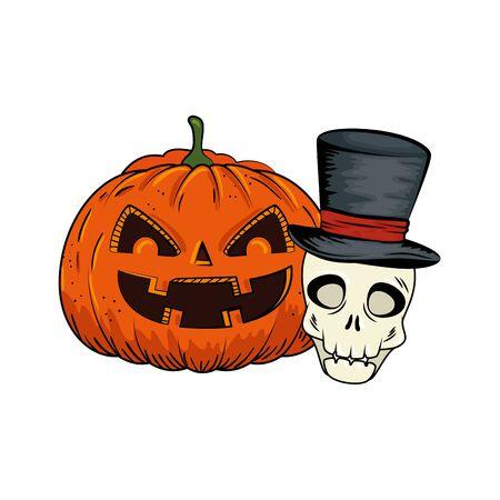 halloween pumpkin and skull with hat wizard pop art style vector illustration design Foto de archivo - 134629297