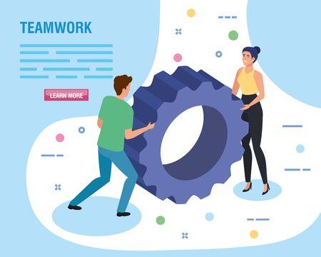 Teamwork-Leute mit Zahnrad-Ritzel-Vektor-Illustration-Design