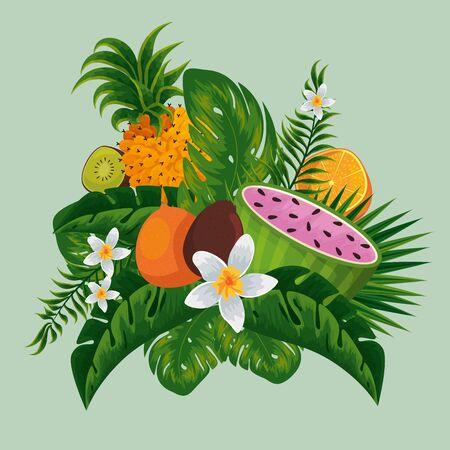 exotic fruits in the tropical leaves and flowers vector illustration