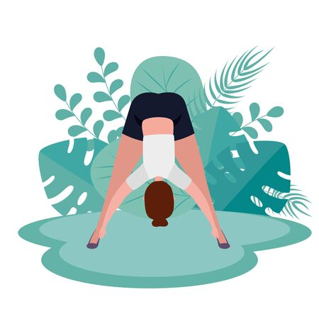 woman exercise yoga medition pose with leaves plants, vector illustration