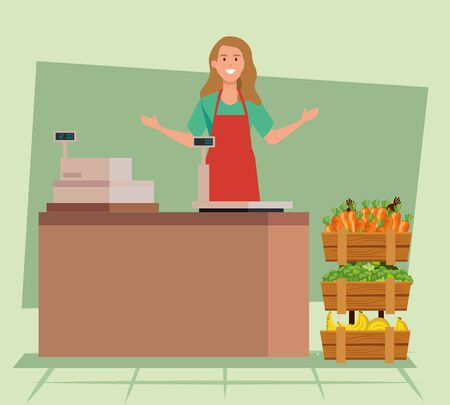 saleswoman wearing apron with fresh vegetables and fruits over green background, vector illustration