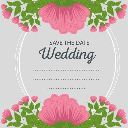 wedding card design with flowers and leaves to event vector illustration Standard-Bild - 134629412