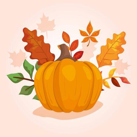 pumpkin with leafs of autumn vector illustration design  イラスト・ベクター素材