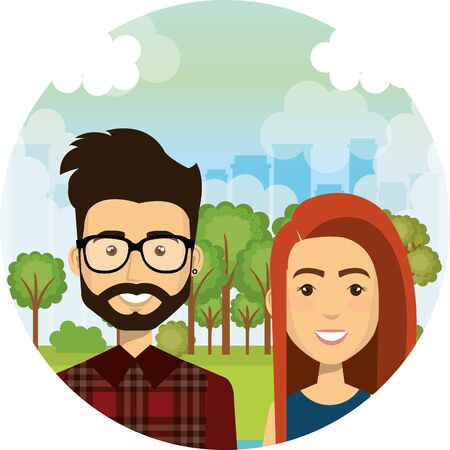 young lovers couple in the camp characters vector illustration design Standard-Bild - 134633715