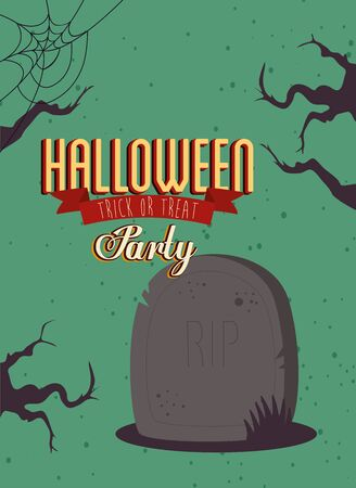 poster of party halloween with gravestone vector illustration design