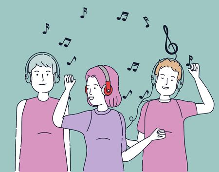 girl and boys enjoying with headphones technology over blue background, vector illustration