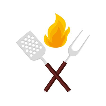 spatula with fork barbecue and flame isolated icon vector illustration design