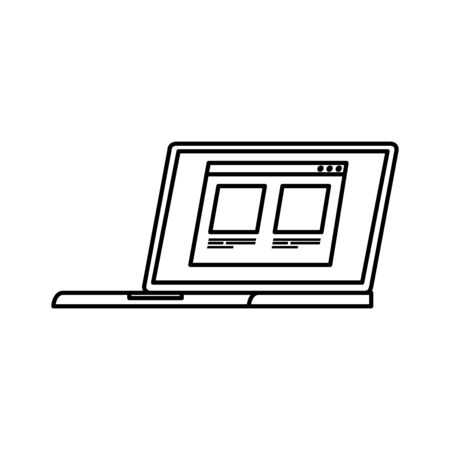laptop computer with web page line style icon vector illustration design