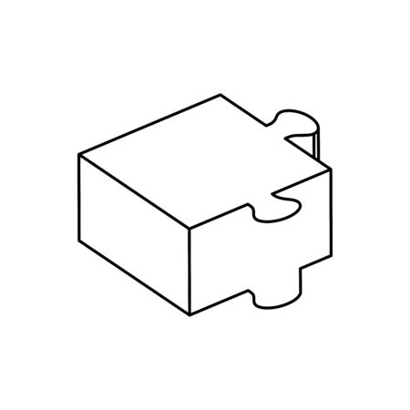 piece of puzzle line style icon vector illustration design