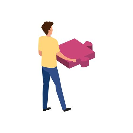 young man with puzzle piece avatar character vector illustration design