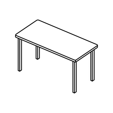 table rectangle furniture line style icon vector illustration design  イラスト・ベクター素材