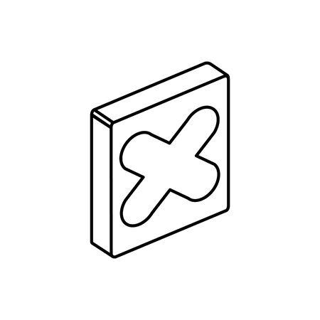 x button design, Digital technology communication social media internet and web theme Vector illustration