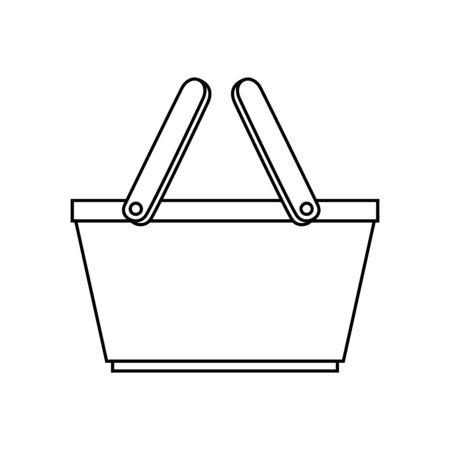 basket wicker picnic line style icon vector illustration design