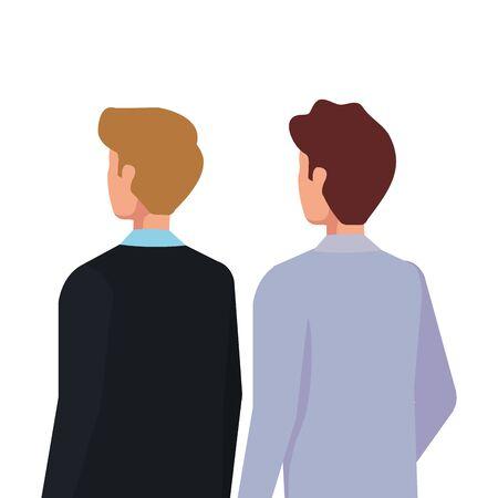 back businessmen elegant avatar character icon vector illustration design
