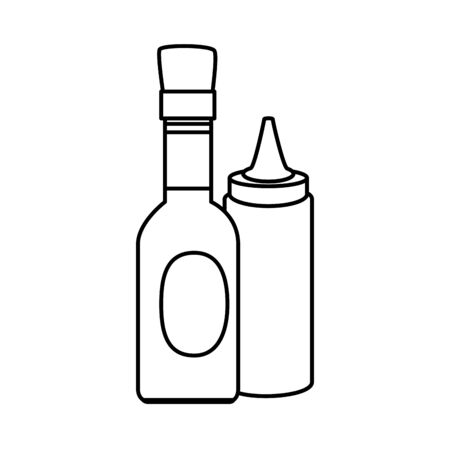 set of delicious sauces line style icon vector illustration design