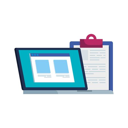 laptop computer with web page and clipboard vector illustration design Illustration