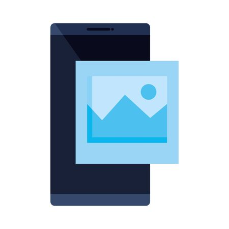 smartphone device with picture file isolated icon vector illustration design Ilustrace