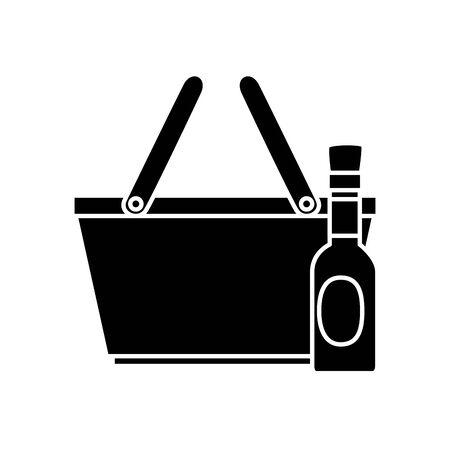 silhouette of delicious sauce in bottle with basket line style icon vector illustration design Ilustração