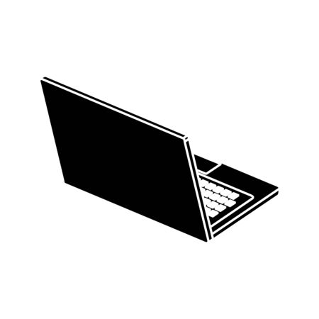 silhouette of laptop computer device isolated icon vector illustration design