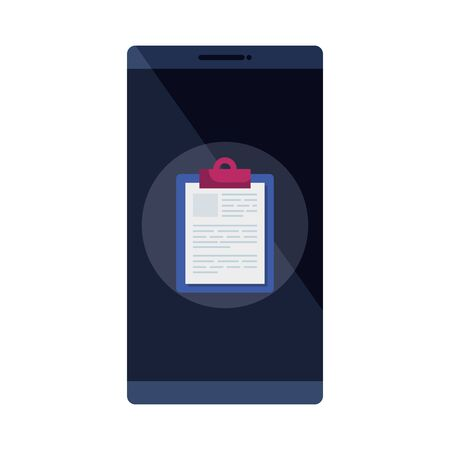 smartphone with clipboard isolated icon vector illustration design