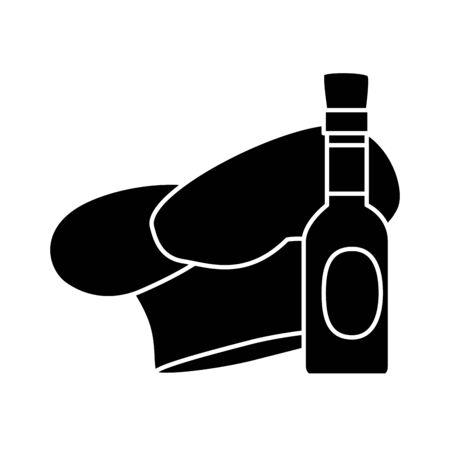 silhouette of delicious sauce in bottle with hat chef vector illustration design Archivio Fotografico - 134750263