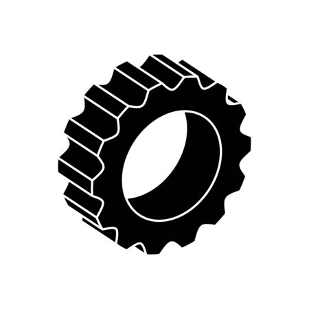 silhouette of gear pinion machine isolated icon vector illustration design