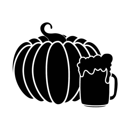 Oktoberfest beer and pumpkin design, Germany festival celebration europe landmark munich culture and party theme Vector illustration Foto de archivo - 134750879